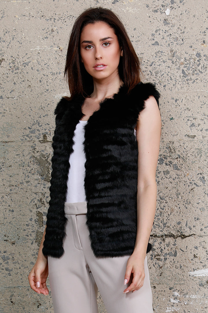 Rabbit Fur Panel Vest, Black, Dolce Cabo