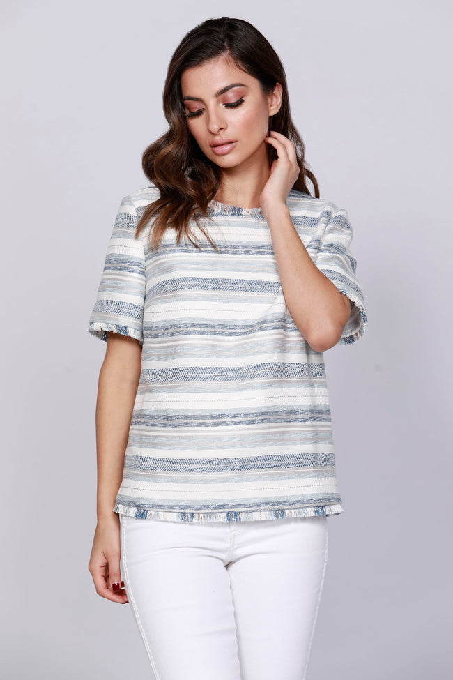 Stripe Tweed Top