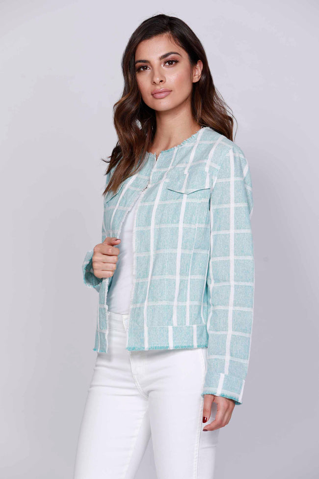 Check Print Cotton Jacket