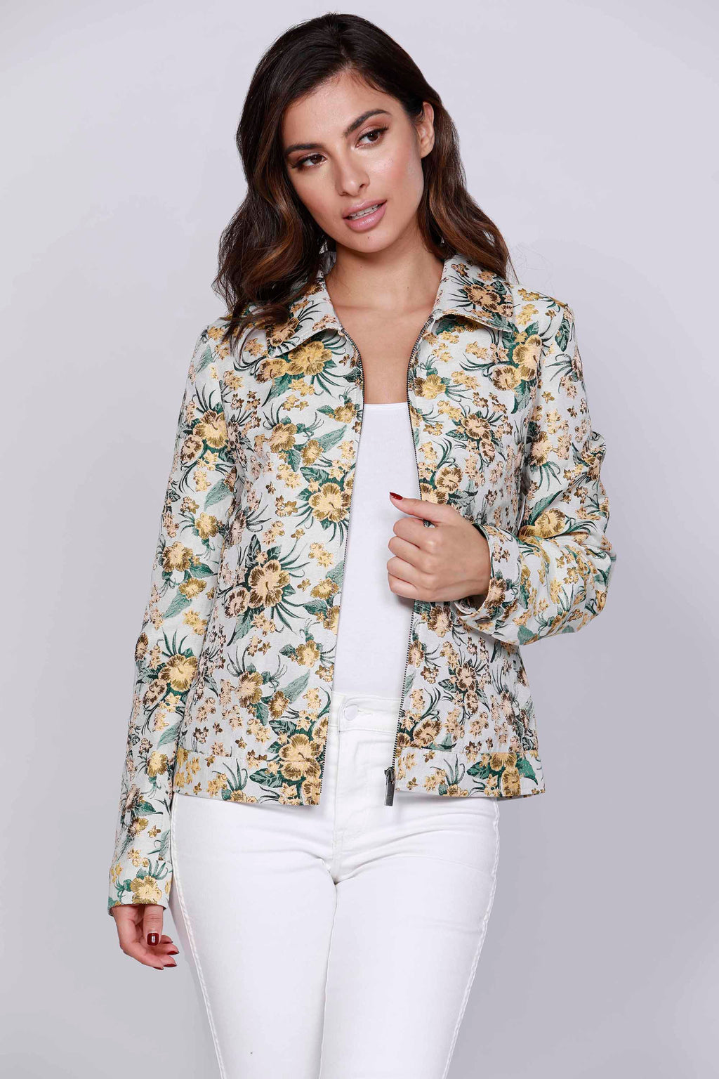 Floral Light weight Zip Jacket