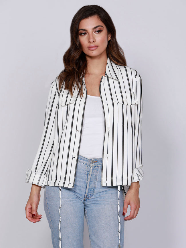 Stripe Drawstring Jacket