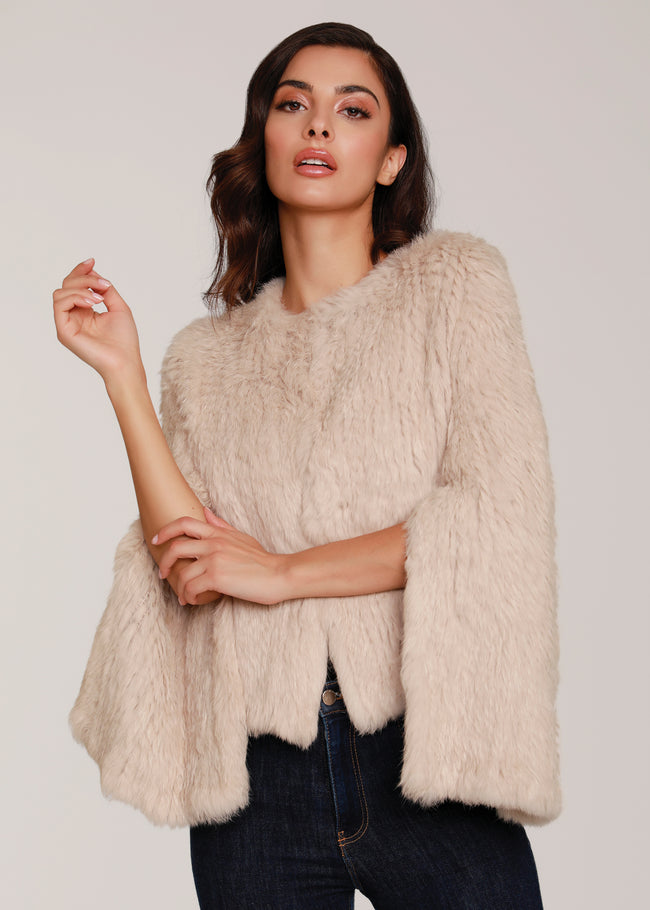 Fur Jacket w/ Slit Sleeves