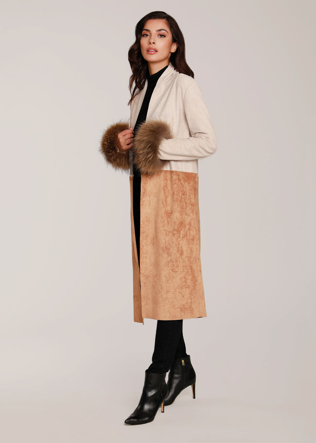 Suede Jacket w/ Fur Cuffs