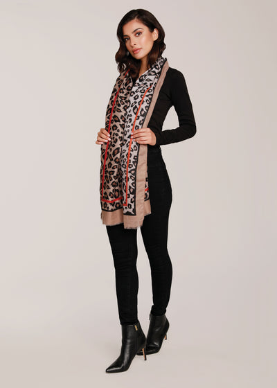 Leopard Scarf with Contrasting Border, beige