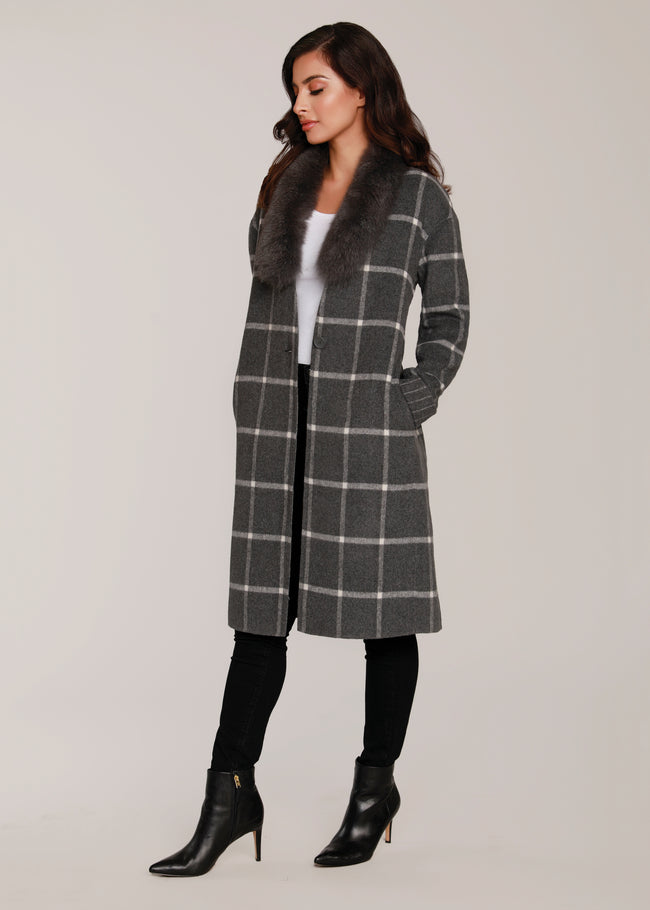 Plaid Lounge Coat w/ Fur Collar