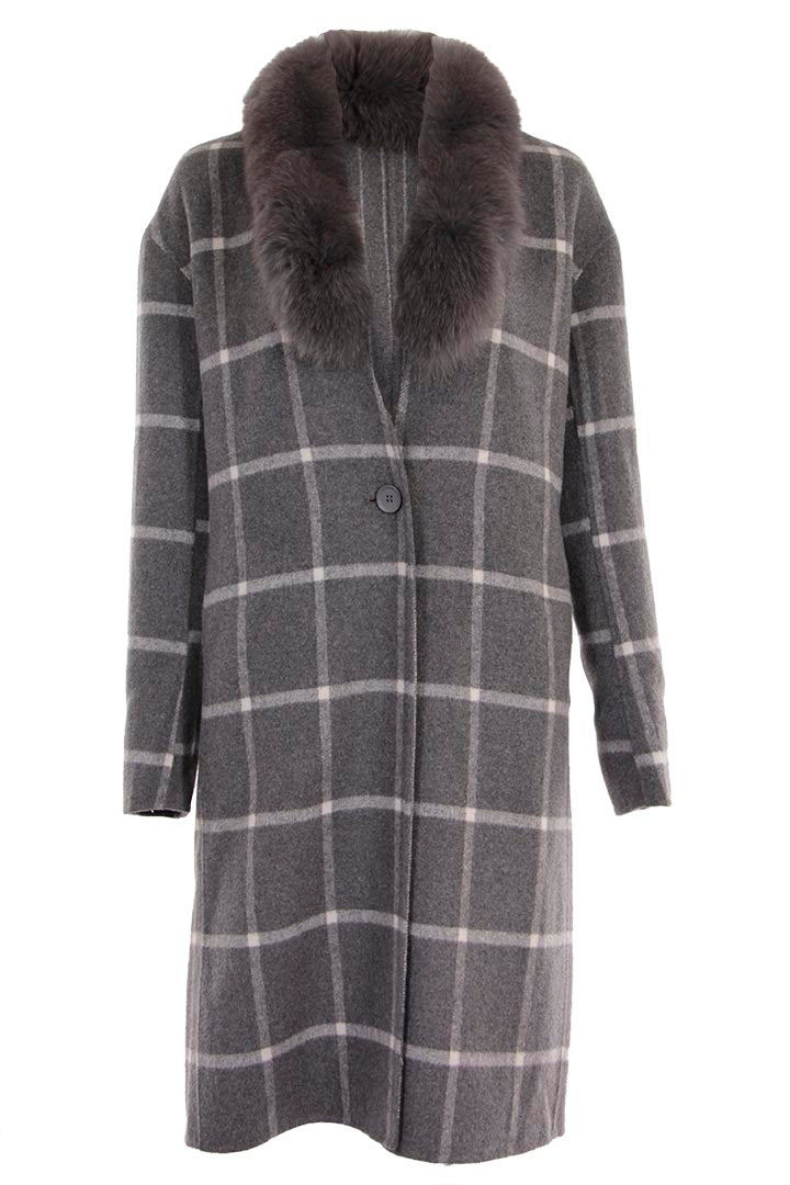 Plaid Lounge Coat with Fur Collar