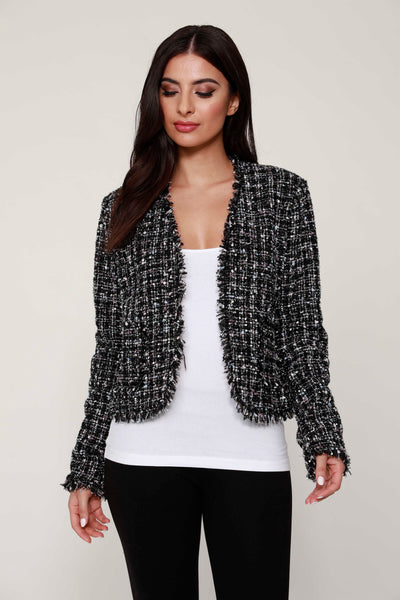 Tweed fringe jacket