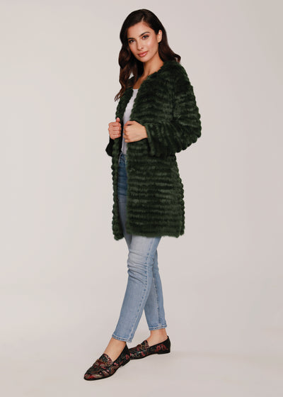 Light Weight Natural Fur Jacket, antique green