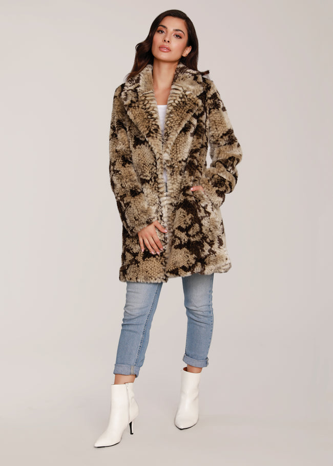 Snake Print Faux Fur Jacket