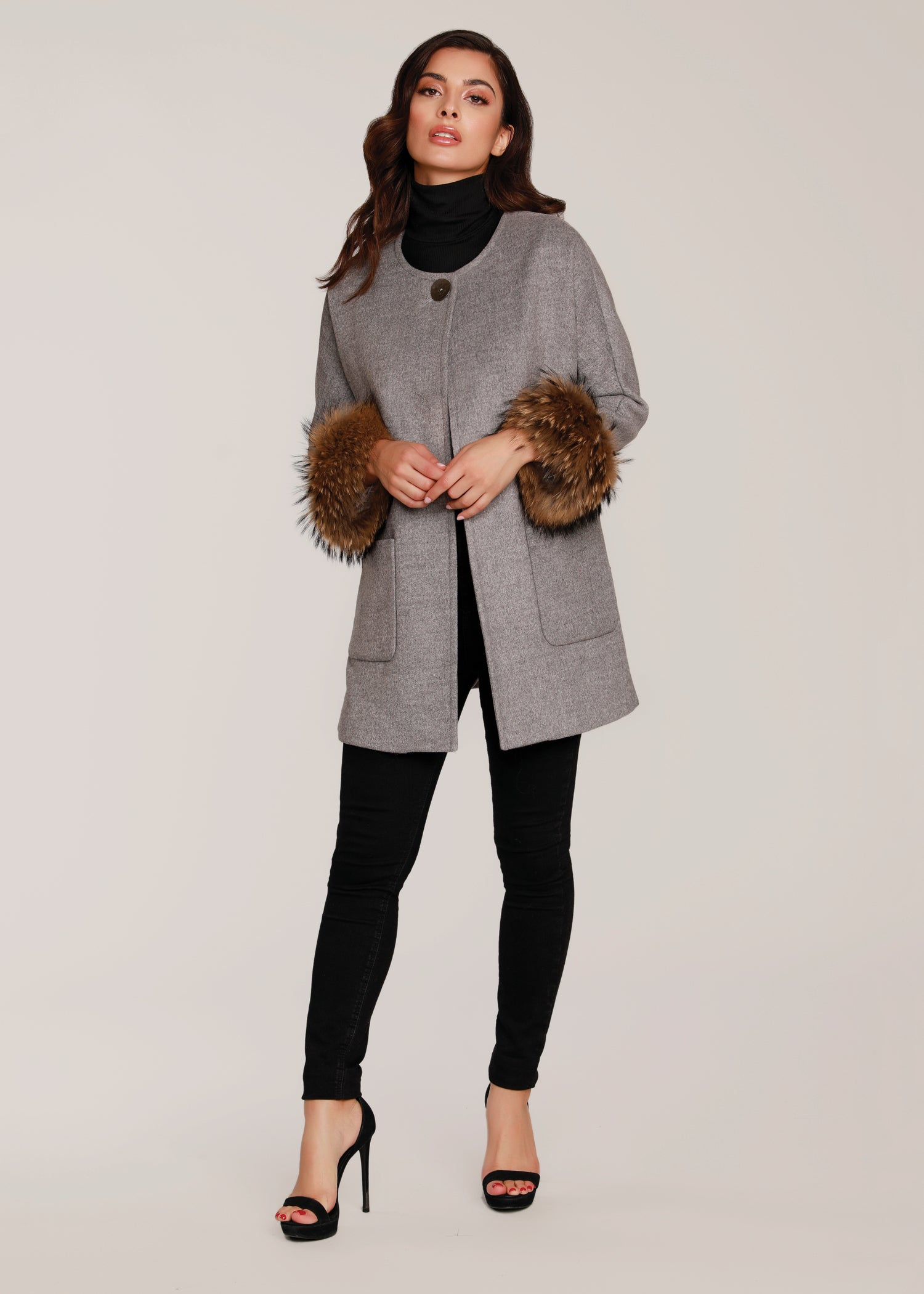 Coat w/ Fur Cuffs