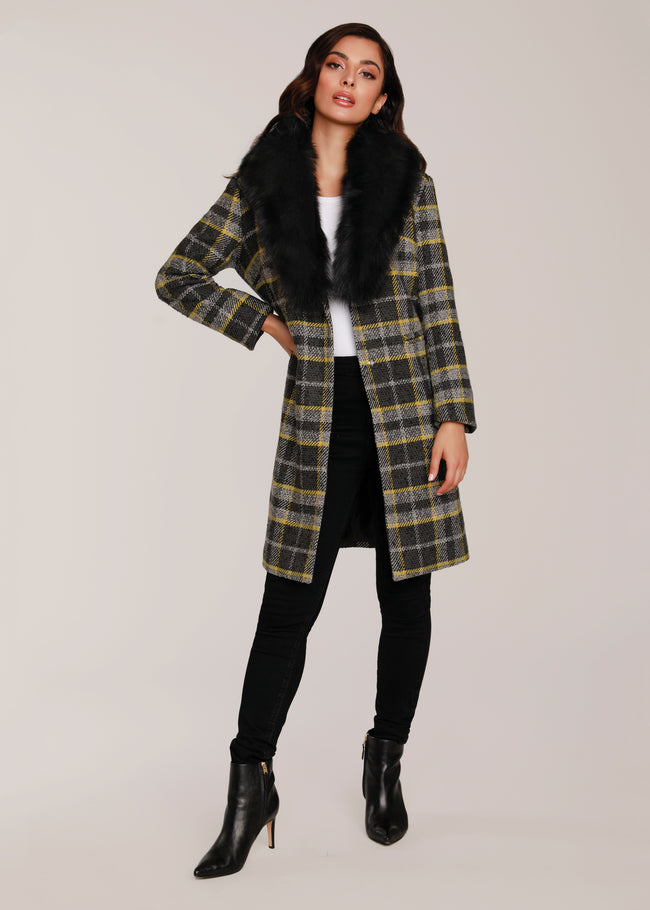 Plaid Coat w/ Fur Collar