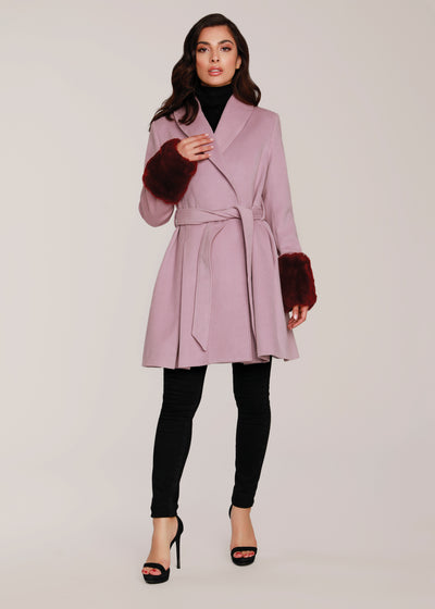 Tailored A-Line Coat with Natural Fur Cuffs