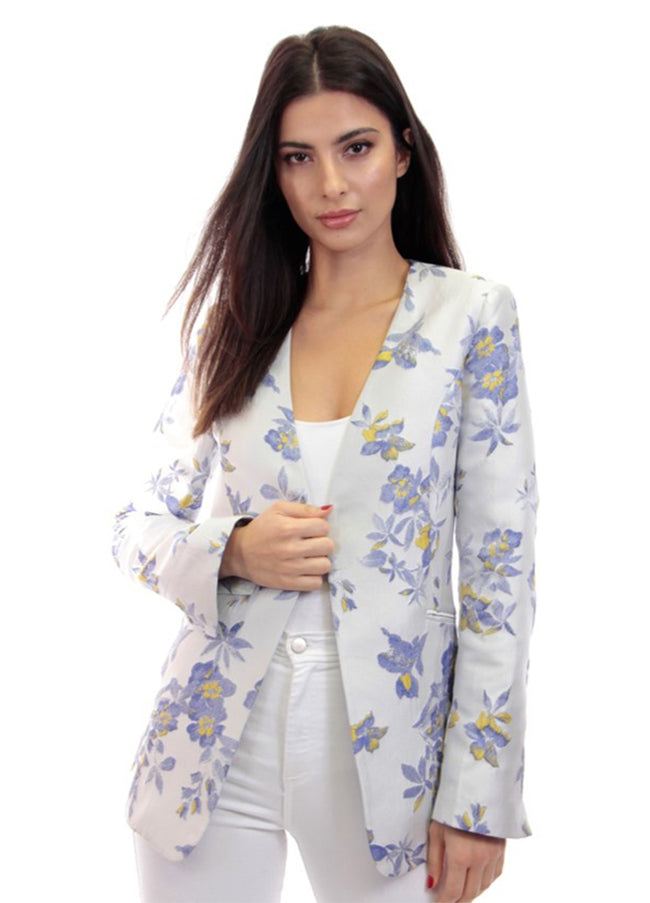 Jacquard Blazer with Arm Slits