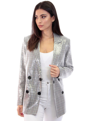 Sequin Double Breasted Blazer, sequin plaid