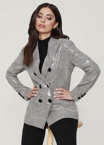 Grey Sequin, Sequin Blazer
