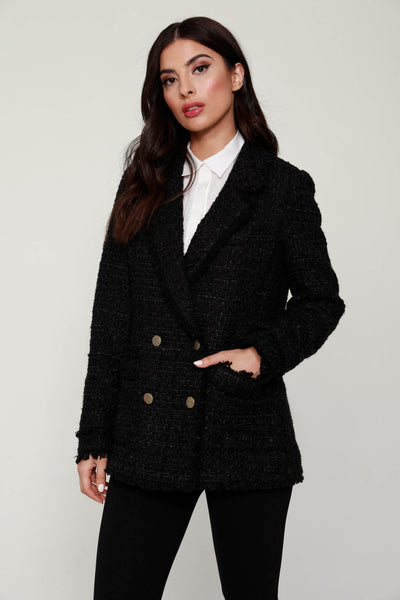 Double-Breasted Tweed Fringe Blazer