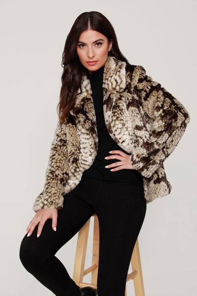 FAUX FUR SNAKE PRINT COAT