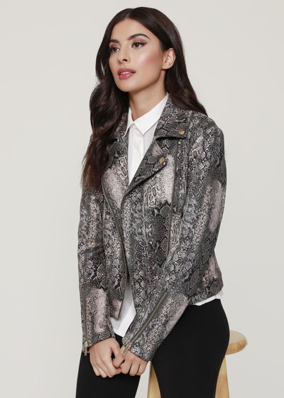 Snake Print Motorcycle Jacket, grey