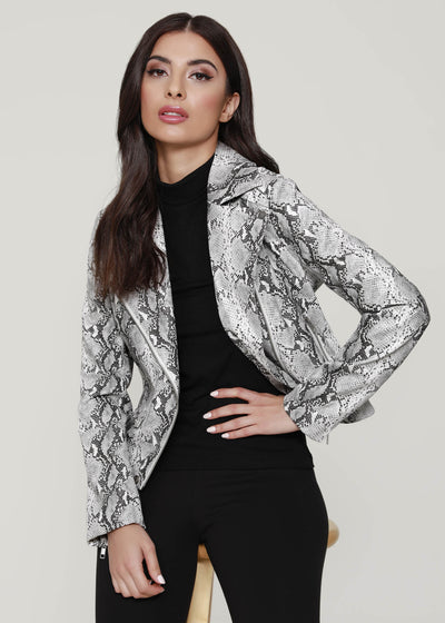 Faux Snake Motorcycle Jacket