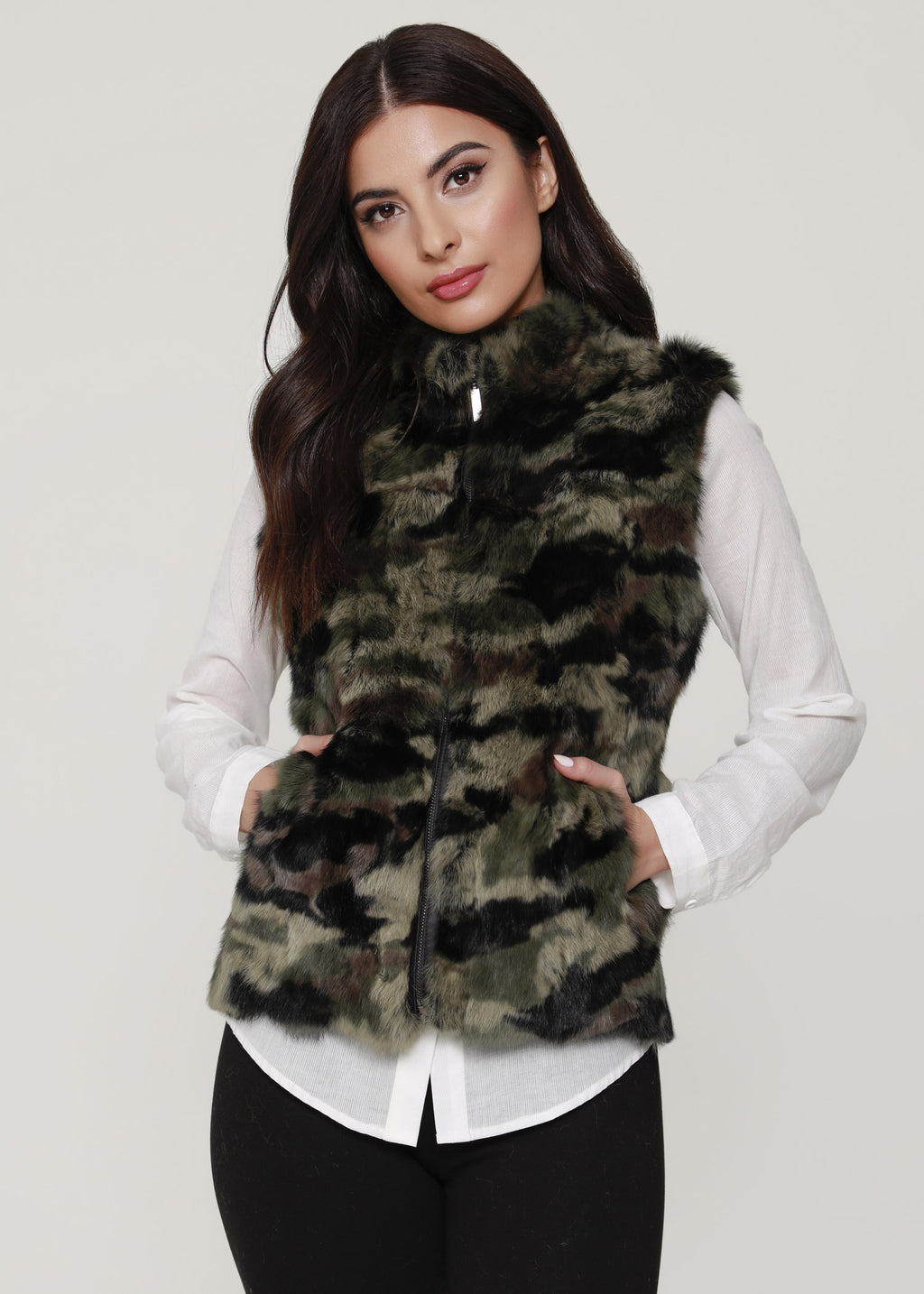 Camouflage Rabbit fur Vest