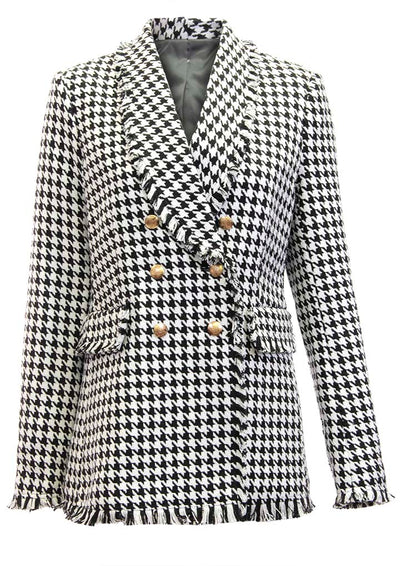 Double- Breasted Houndstooth Fringe Blazer