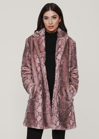 Plush Snake Print Faux Fur Coat
