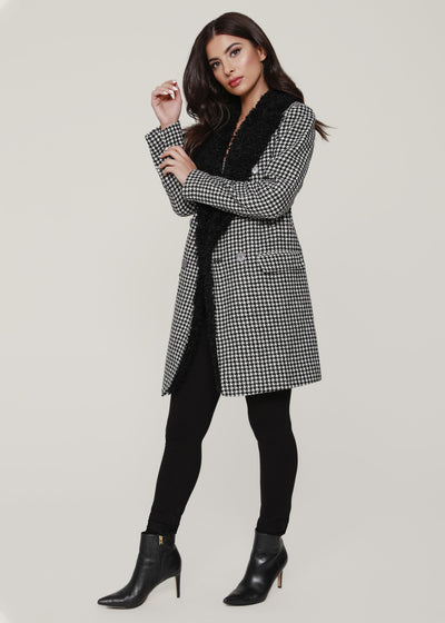 FAUX SHERLING LINED HOUNDSTOOTH COAT