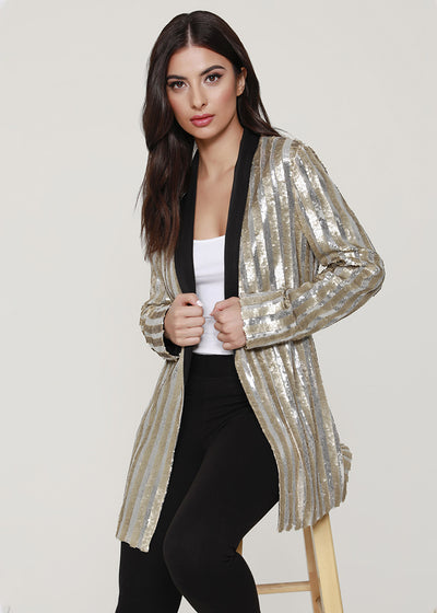 Striped sequin Tuxedo-inspired Cardigan
