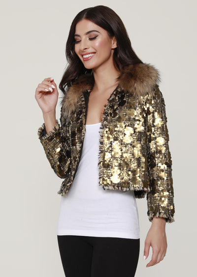 Tweed and sequin Jacket with Raccoon fur collar , Gold