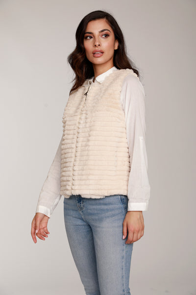 Grooved Natural Fur Vest