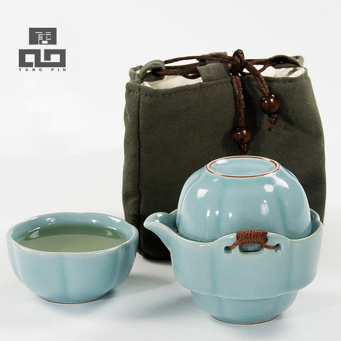 Porcelain Travel Tea Set with Bag
