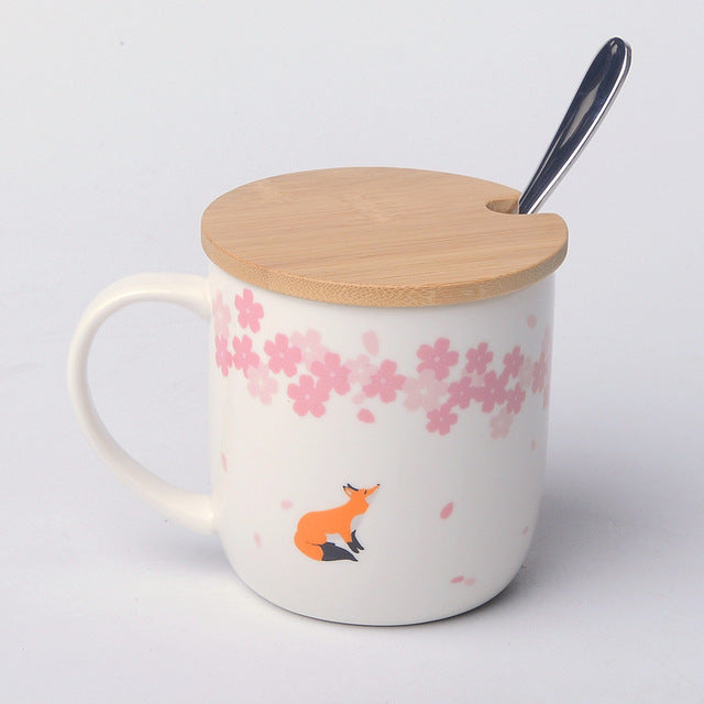 2017 Hot 380ml Ceramic Mugs Sakura Cute Fox/Deer/Bear Mugs Coffee Tea Mugs Creative Gifts For Kids Birthday Gifts