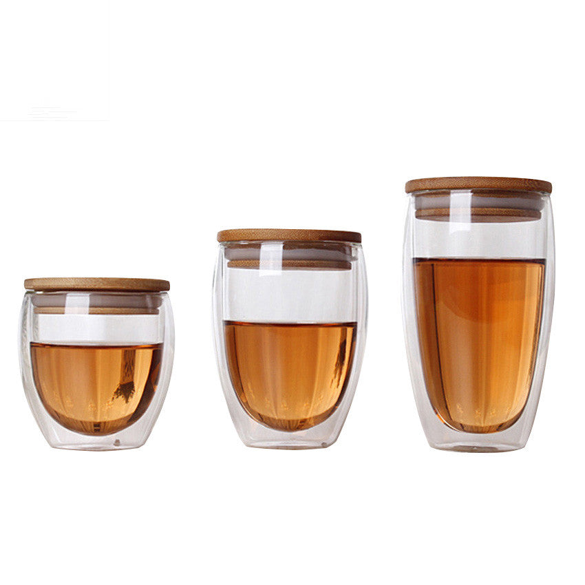Double Wall Glass Tea Cup with Bamboo Lid - Levitea
