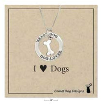 "Load image into Gallery viewer, Sterling Silver 18"" ""Dog Lover"" Pendant Necklace"