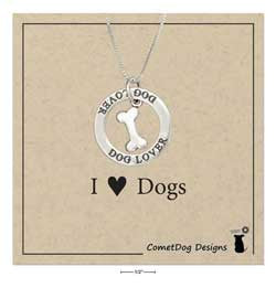 "Sterling Silver 18"" ""Dog Lover"" Pendant Necklace"