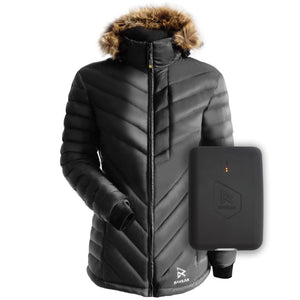 black women's down heated jacket
