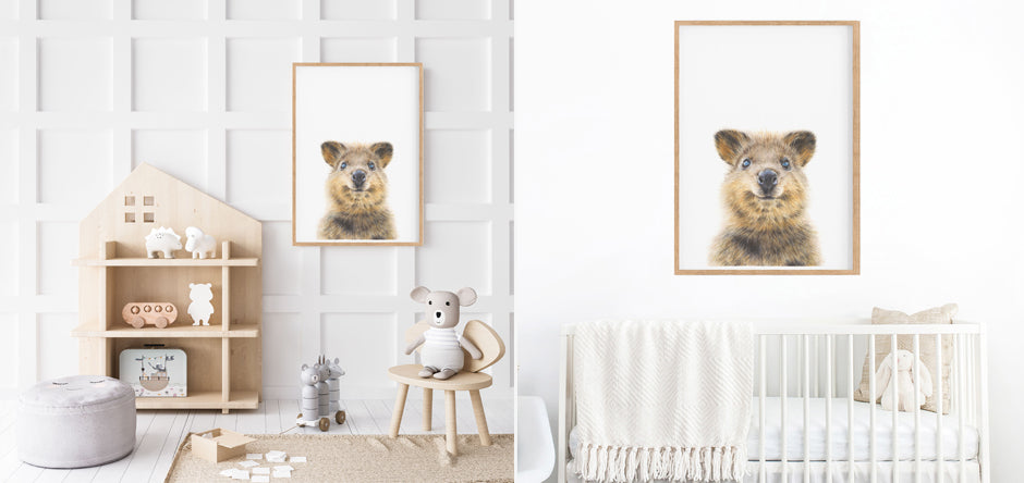 quokka art prints hanging in a nursery and kids playroom