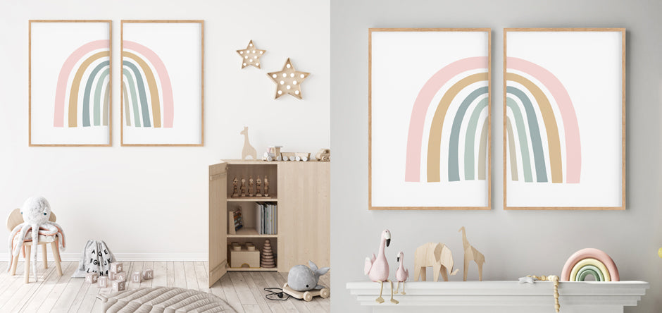 two rainbow art prints hanging in a kids playroom