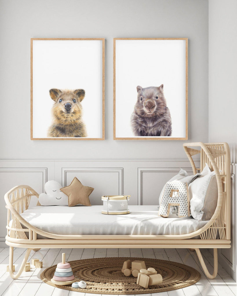 set of 2 Australian animal prints, quokka and wombat