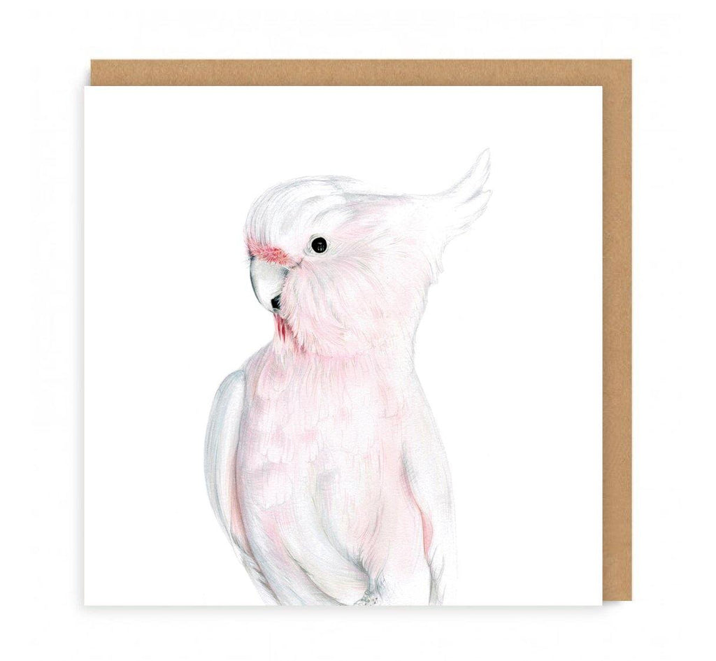 a greeting card with a pink cockatoo on the front