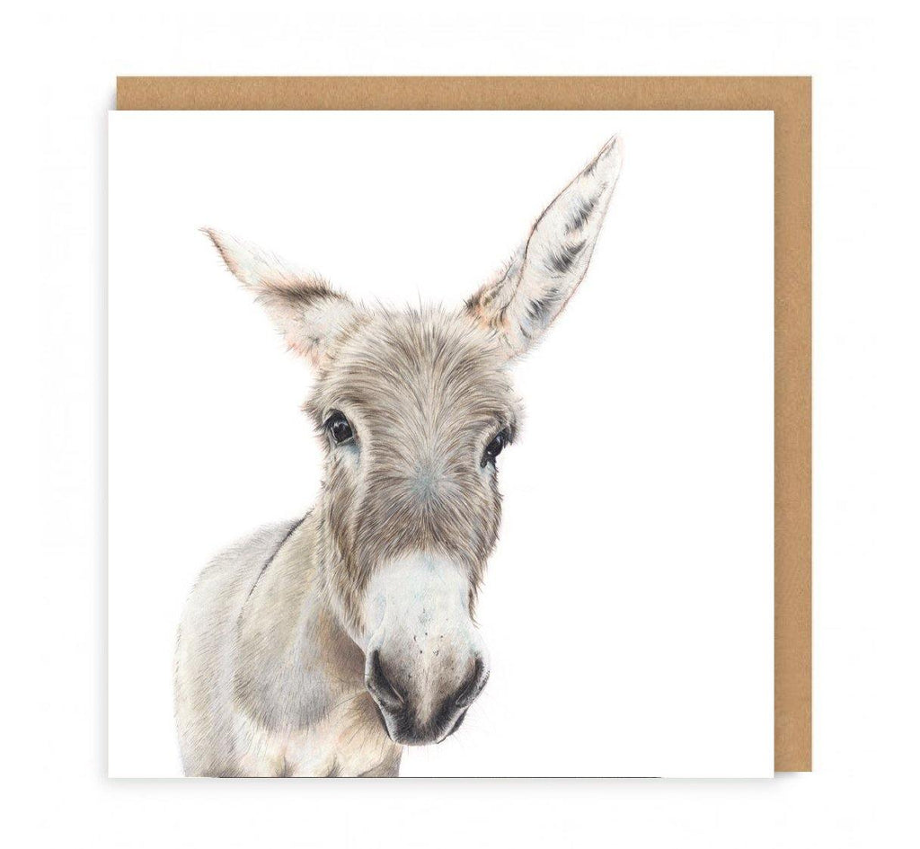 a greeting card with a donkeys head on the front