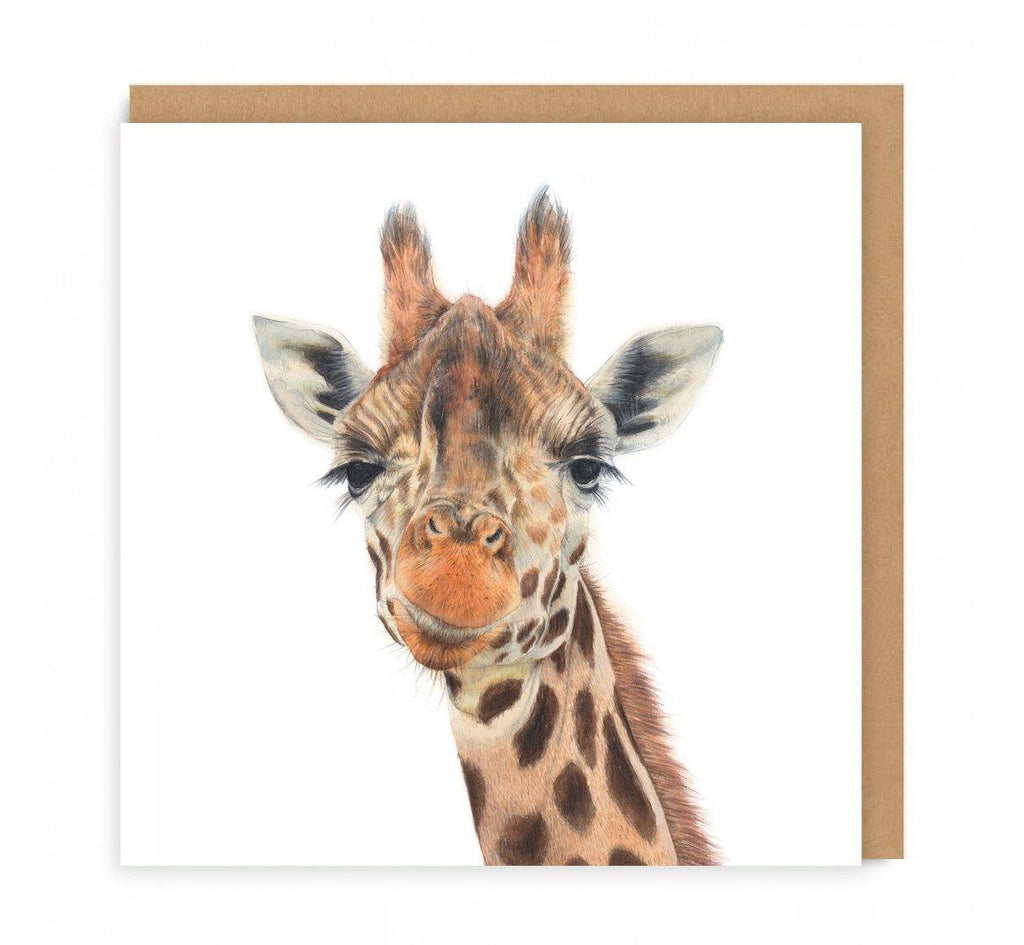 a greeting card with a giraffes head on the front