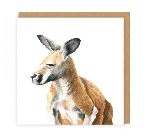 a greeting card with a kangaroo looking sideways on the front