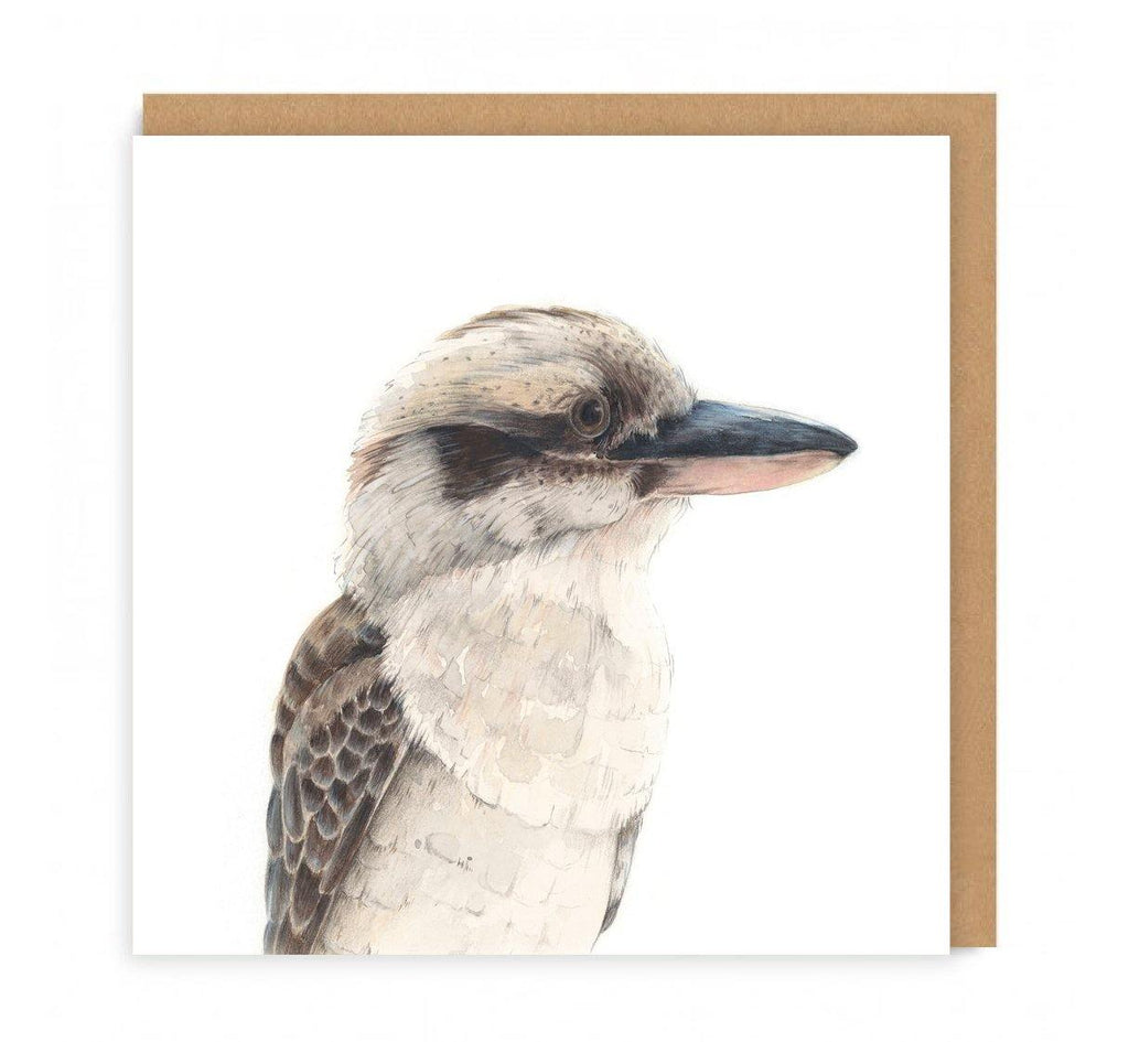 a greeting card with a kookaburra looking sideways on the front