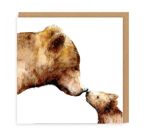 a greeting card with a mama bear and cub rubbing noses on the front