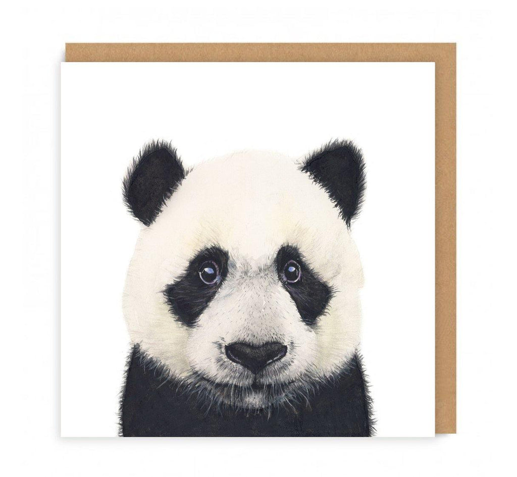 a greeting card with a panda bear head on the front