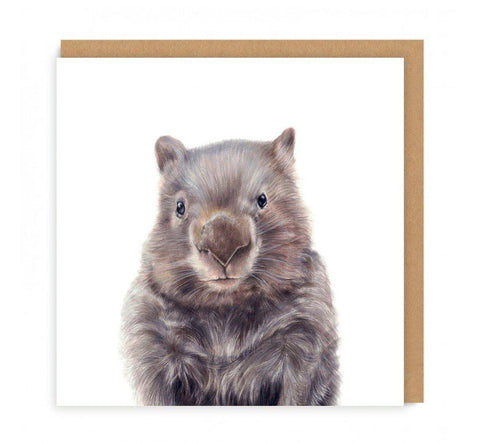 a greeting card with a drawing of a wombat head on the front