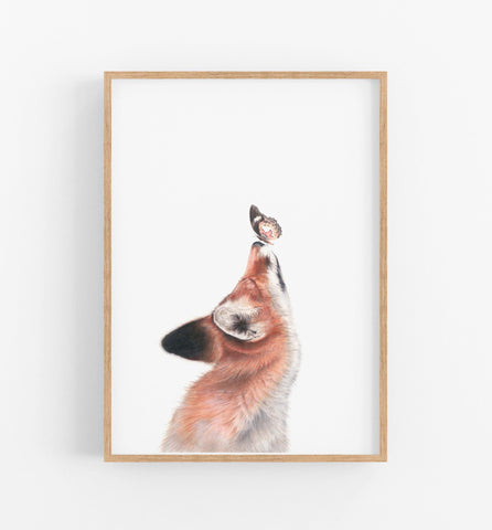 Art print of a Butterfly sitting on a foxes nose