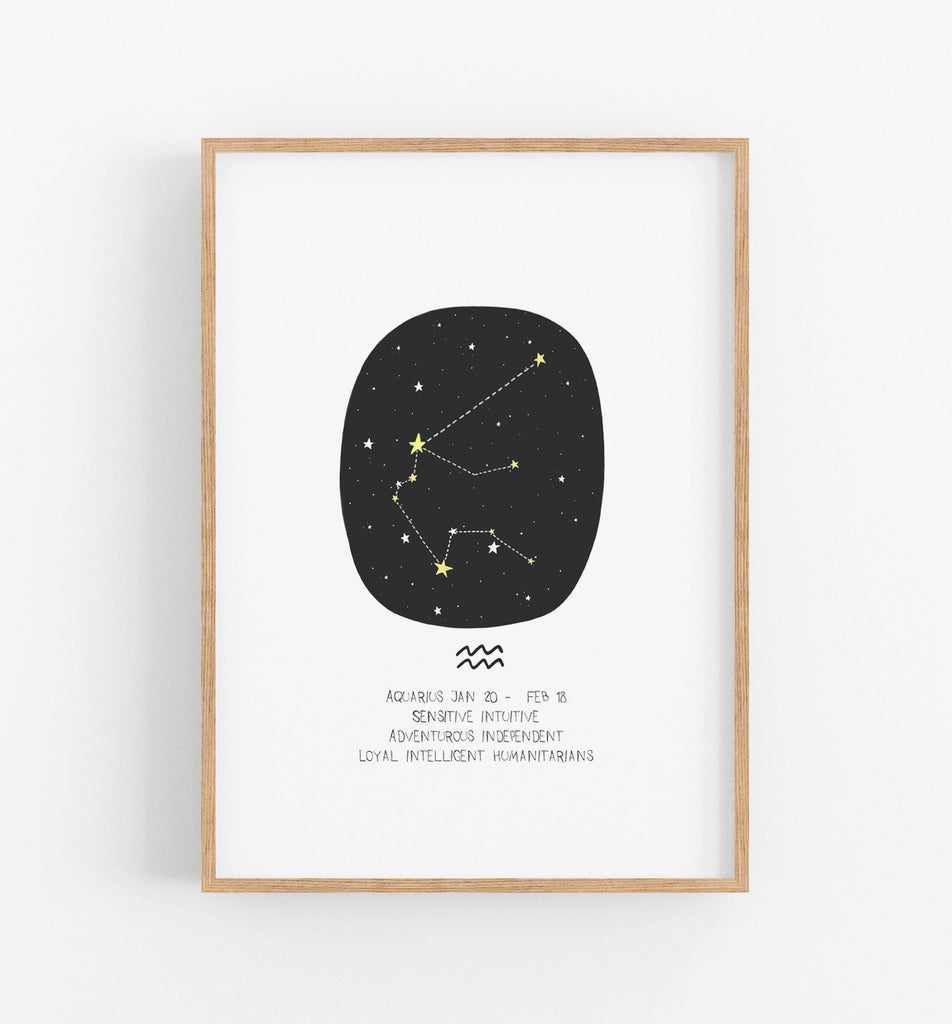 black and white zodiac constellation print