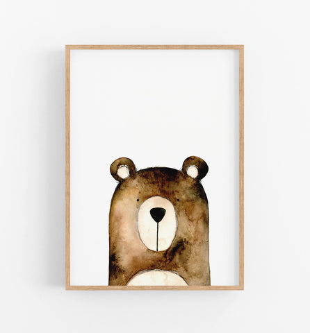 brown bear wall art print